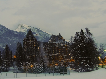 Banff Springs Hotel at dusk