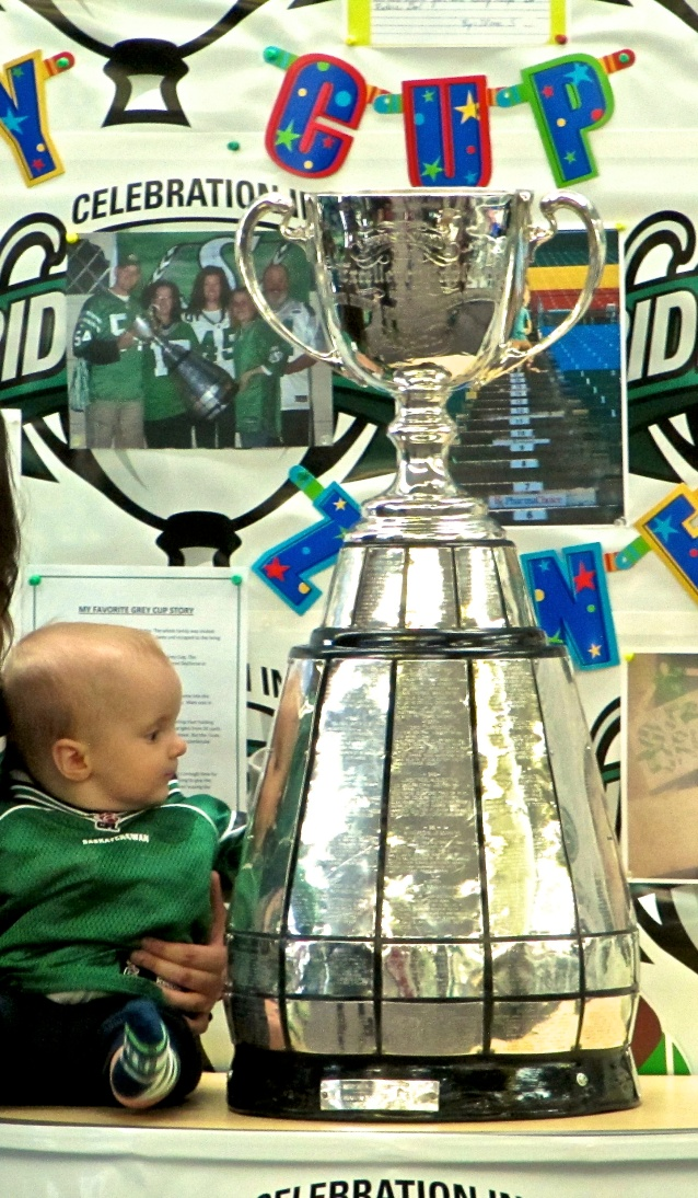 The Grey Cup came to the Library for photo ops...