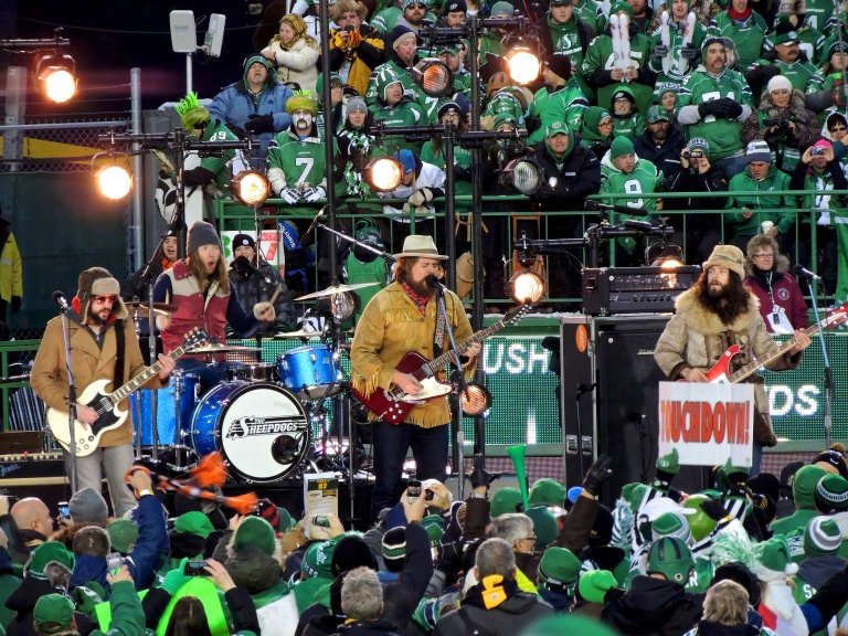Sheepdogs perform during the pre-game