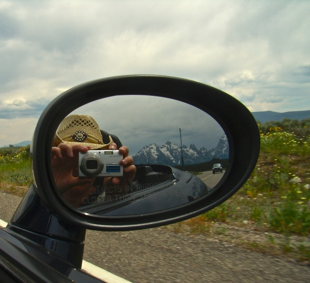 driving through Grand Tetons, June 2008