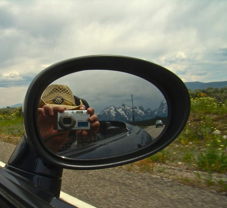 driving through Grand Tetons, June 2008
