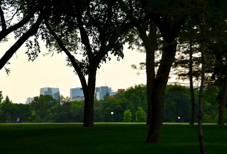 a shot of the downtown skyline from Wascana Park