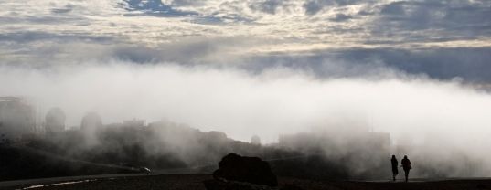 Haleakala Observatory covered by clouds