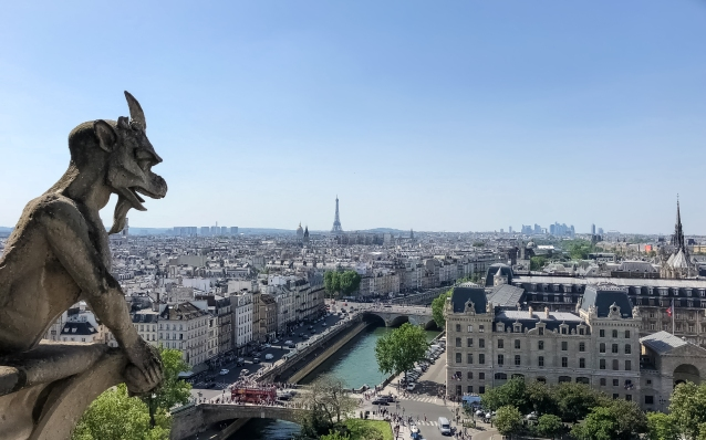 Paris from Notre Dame Towers on a Sunday Afternoon